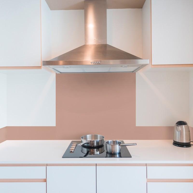 Cr dence de cuisine adh sive en aluminium beige ros for Decoration de cuisine en aluminium