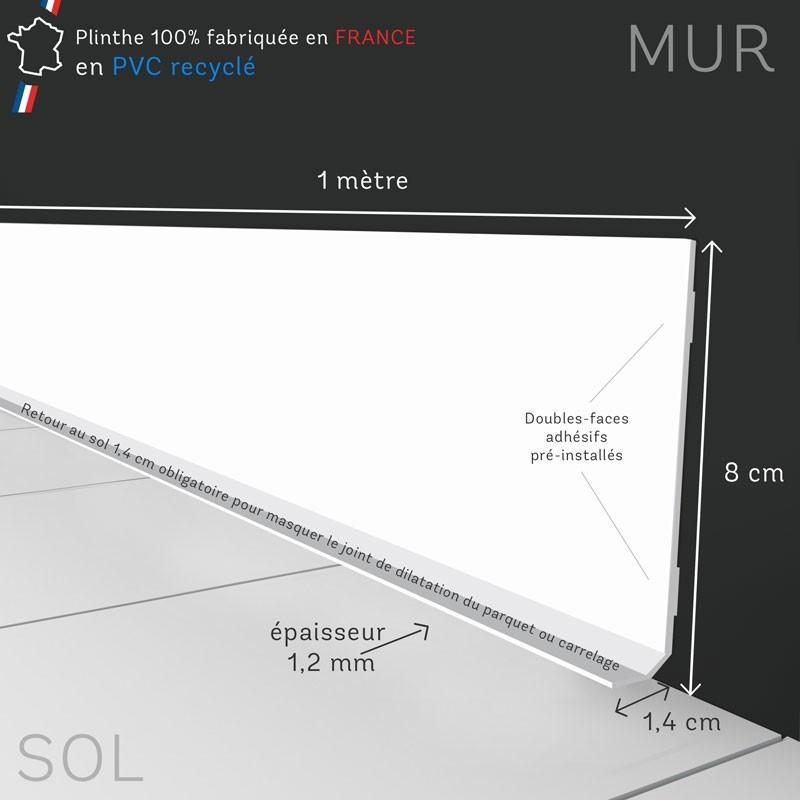 """Dimensions des plinthes blanches en PVC """"Ma Plinthe Déco"""""""