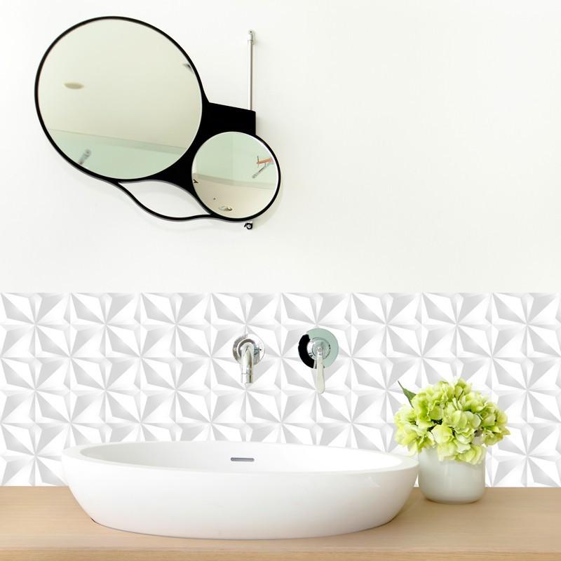 cr dence de salle de bains adh sive en pvc motif origami blanc 99 d co. Black Bedroom Furniture Sets. Home Design Ideas