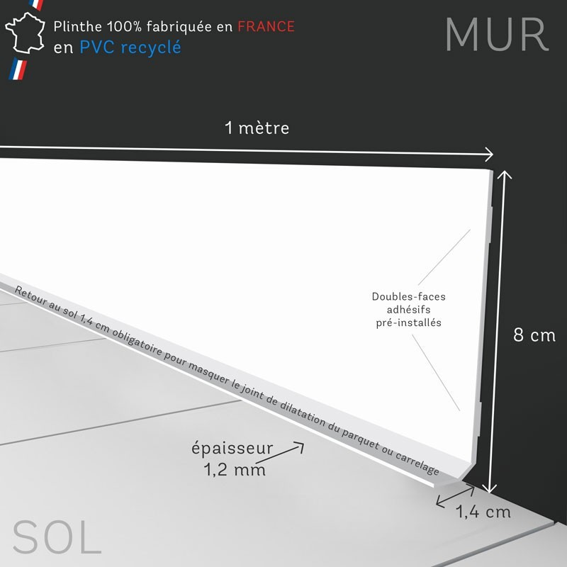 Profil et dimensions d'une plinthe adhésive 99Déco
