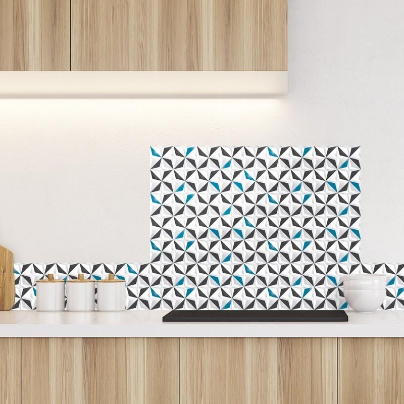 Cr dence de cuisine adh sive en aluminium motif origami for Credence aluminium adhesive