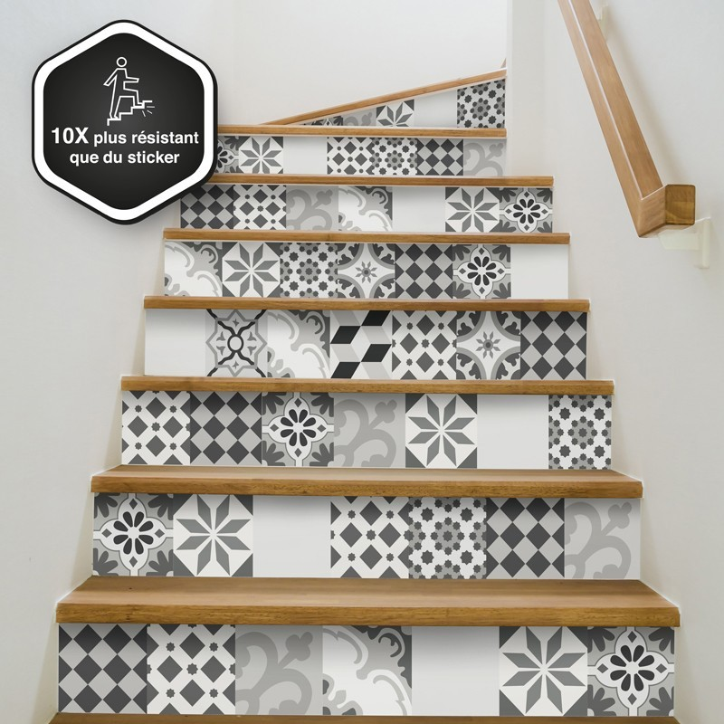 lot de 5 contremarches d coratives faciles poser 10x. Black Bedroom Furniture Sets. Home Design Ideas
