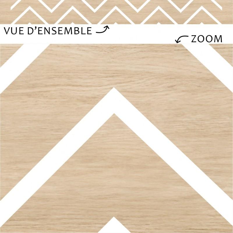 Vue d'ensemble et zoom sur plinthes PVC imitation bois