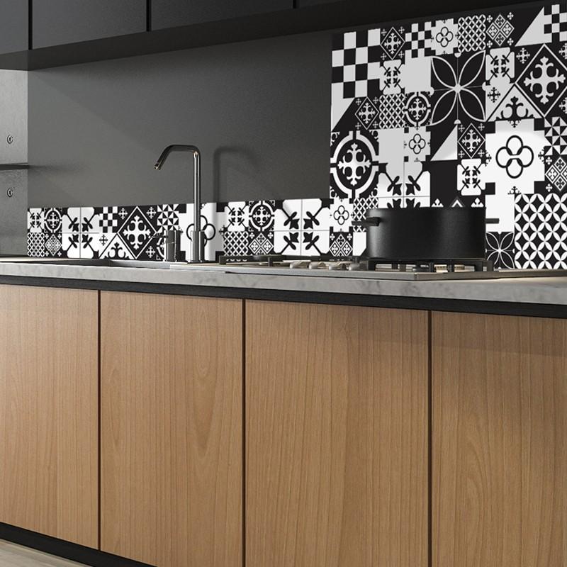 Cr dence de cuisine adh sive en aluminium carreaux de - Credence cuisine en carreaux de ciment ...