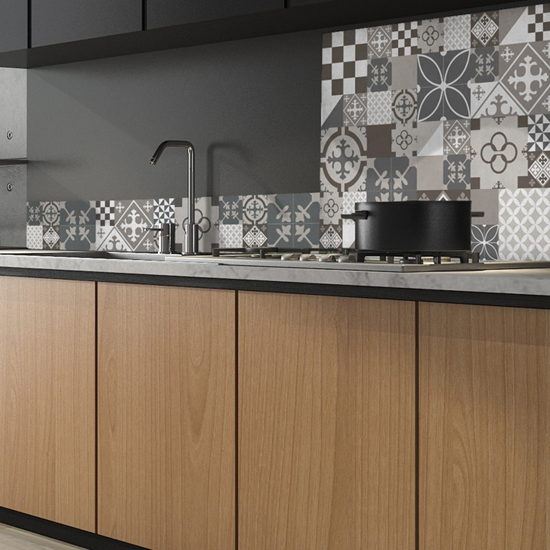 Cr dence de cuisine adh sive en aluminium carreaux de ciment marrons et beiges 99 d co - Cuisine carreau de ciment ...