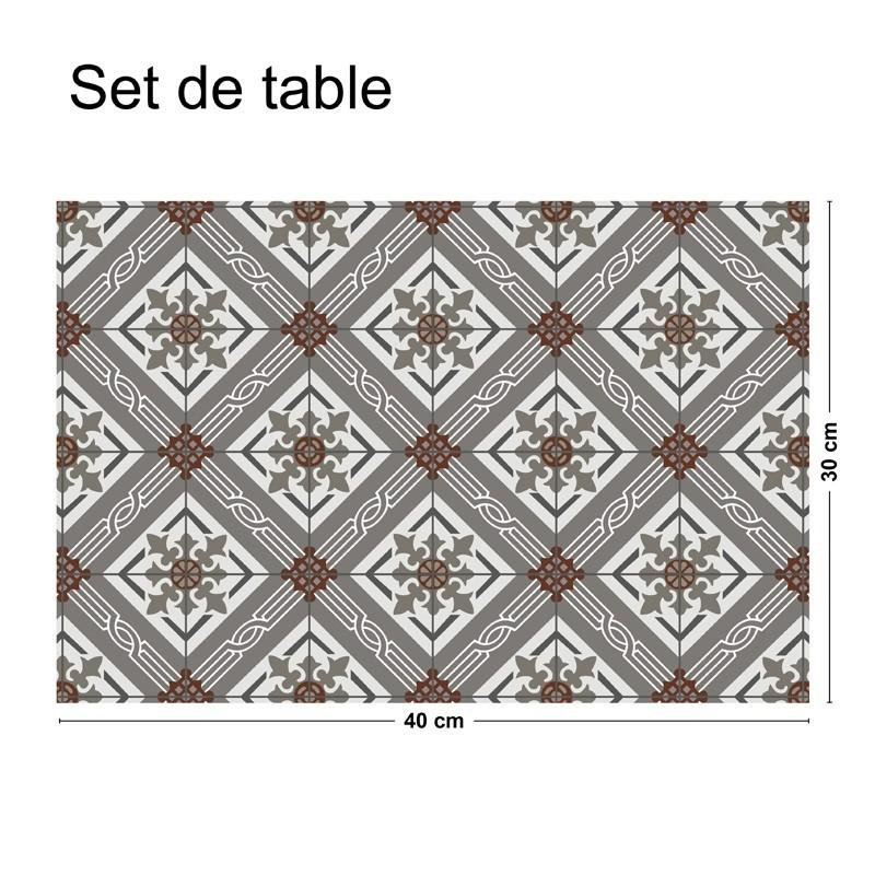 set de table pais et antid rapant motif carreaux de. Black Bedroom Furniture Sets. Home Design Ideas