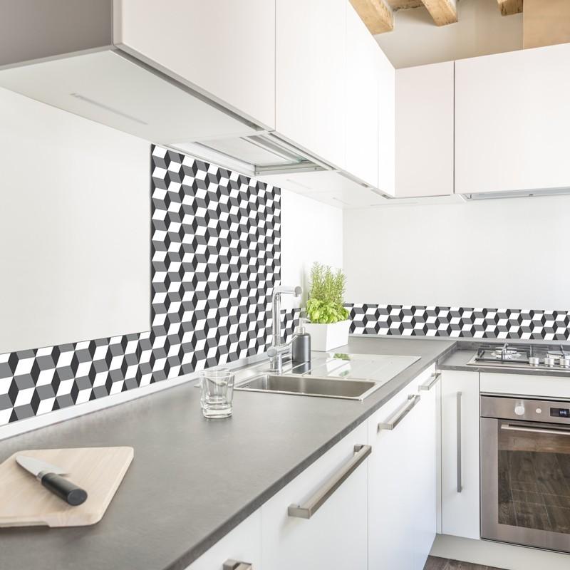 Cr dence de cuisine adh sive en aluminium motif cubes 3d for Credence alu adhesive