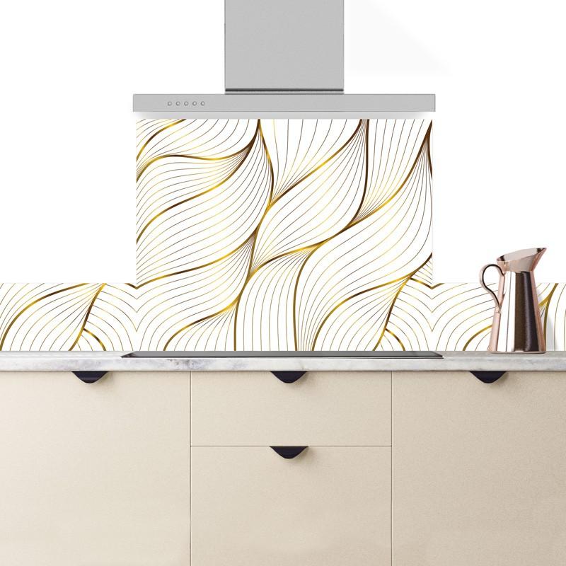 Crédence cuisine en aluminium reflets couleur or