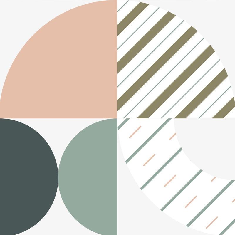 Crédence de cuisine adhésive aux motifs graphiques et couleurs pastel