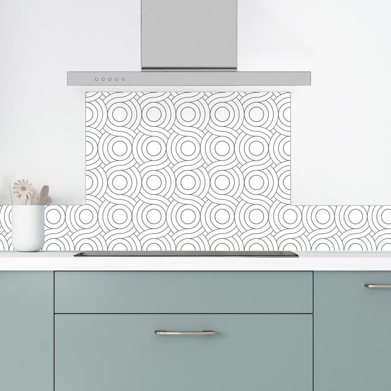 Crédence de cuisine en aluminium motif gris et blanc